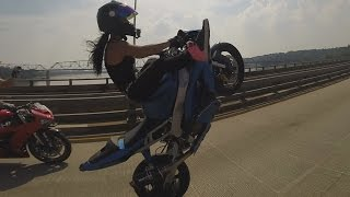 Motorcycle Stunts Beautiful GIRL Riding Wheelies Long Highway Wheelie Ride Of The Century ROC 2016