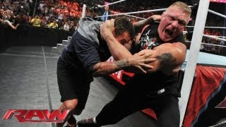 Brock Lesnar attacks CM Punk: Raw, July 15, 2013