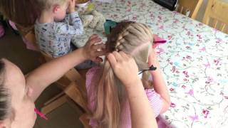 French braid bow by Two Little Girls Hairstyles