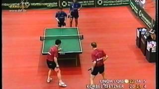 Tischtennis Bundesliga: Petr Korbel Steffen Fetzner vs Qiu Jianxin Erik Lindh