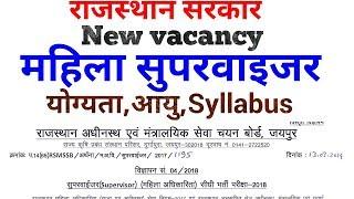 New vacancy :महिला सुपरवाइजर के 180 पदों पर भर्ती :योग्यता, आयु, Syllabus etc