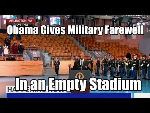 Obama Gives Military Farewell In an Empty Stadium lots of empty chairs