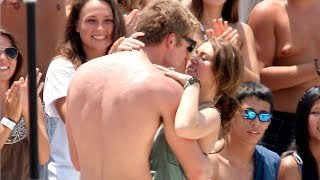 Miley Cyrus Kisses Liam Hemsworth On The Set Of 'Last Song' [2009]