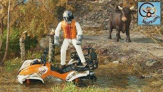 Мультик про машинки. Трактор лесовоз John Deere, квадроцикл тонет в болоте. Bruder.  МанкиМуль
