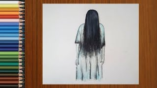 Scary Drawings - How To Draw A Ghost Girl Scary Step By Step | Halloween Drawings