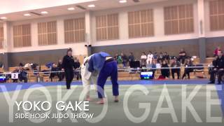 YOKO GAKE Judo Side Hook Throw. Is this FAIR? his jacket came off, then, got thrown.