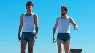 Strong boys wear booty shorts.