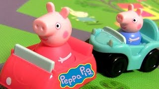 Peppa Pig Muddy Puddles Playmat Racetrack with Cars Peppa & George Pig Kids Baby toys