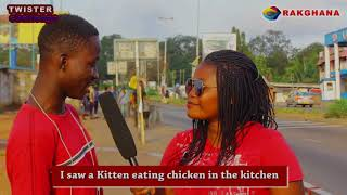 I saw a kitten eating chicken in the kitchen - street quiz (twister challenge)