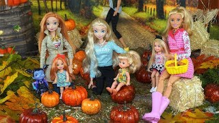 Barbie, Elsa & Anna Toddler Pumpkin Patch Fall Activites with Vampirina - Titi Dolls