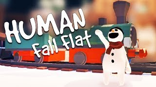 RIDING the CHRISTMAS TRAIN and the GOLDEN PRESENT! - Human Fall Flat Multiplayer Gameplay