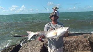 """Salt Water Fishing, 45"""" Bull RedFish on the Jetties 4/6"""