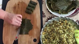 How to make Dolmeh  Grape leaves (Iranian Dolmeh barg mo ) دلمه برگ مو