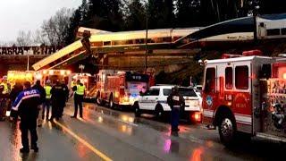 Amtrak train derails on highway bridge in Washington state