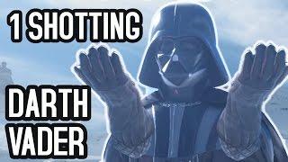 1 SHOT DARTH VADER + Funny moments - Star Wars Battlefront