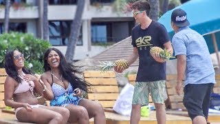 CAN I TOUCH YOUR PINEAPPLE PRANK!! (On the Beach)