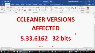 VERY IMPORTANT INFORMATION CCLEANER Had Malware Injected