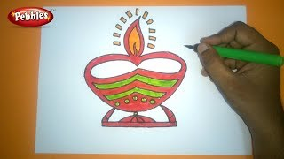 How to Draw DIWALI GREETING DRAWING | Easy And Colourful Diwali Diya Drawing For Kids