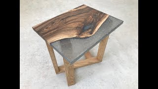 Grey Marble English Walnut Epoxy Resin Side table on Diagonal Oak base