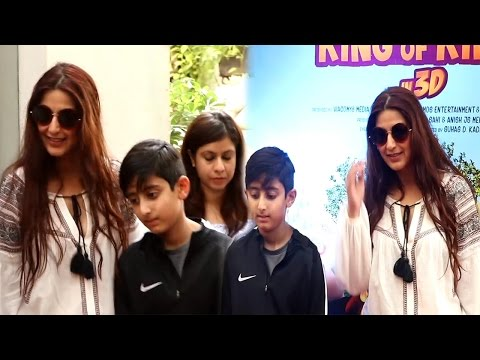 Hot Sonali Bendre With Son and Husband at special screening of film Motu Patlu King of King 3D
