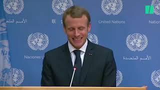 """Après son discours à l'ONU, Macron """"présente toutes ses excuses au pupitre"""" qu'il a maltraité"""