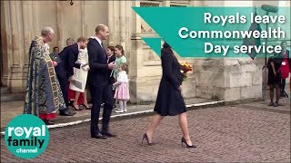 Prince William, Harry, Meghan and Kate leave Commonwealth Day service together