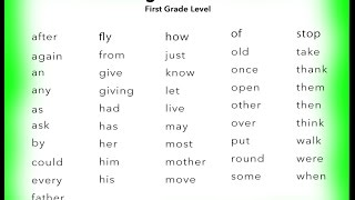 Learn 1st Grade English Sight Words ~ You Tube ~
