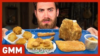 Fried School Lunch Taste Test Ft. Harley Morenstein | TOO MUCH OF A GOOD THING