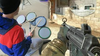 Playing Call of Duty with a Rock Band Drum Set