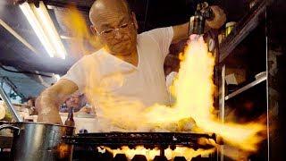 FLAMETHROWER TUNA - Japanese Street Food in Osaka, Japan   CRAZY Street Food in Japan (居酒屋とよ)