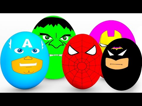 Learn Colors SURPRISE EGGS for Babies - Spiderman Cars Educational Video - Bus Superheroes for Kids