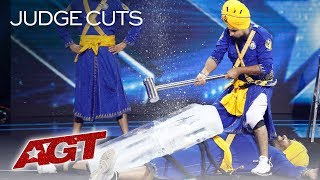 OMG! DANGER Act Bir Khalsa HITS Friend With A Sledgehammer - America's Got Talent 2019