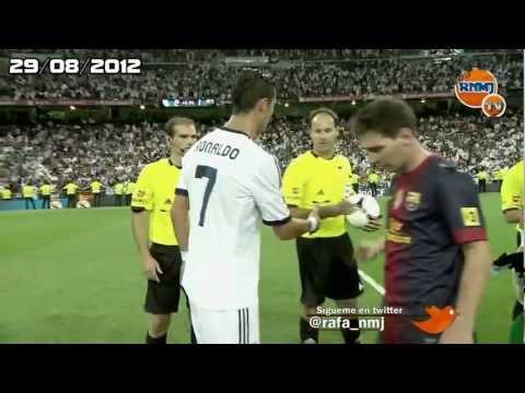 Messi y Cristiano Ronaldo no se saludan Supercopa 2012 HD Real Madrid vs. FC Barcelona