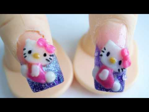 Hello Kitty diseño de uñas acrilicas 3D relieve glitter morada rosa kawaii