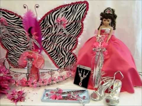 Quinceanera Centerpieces Zebra Print and Fuchsia Butterfly abcfashion