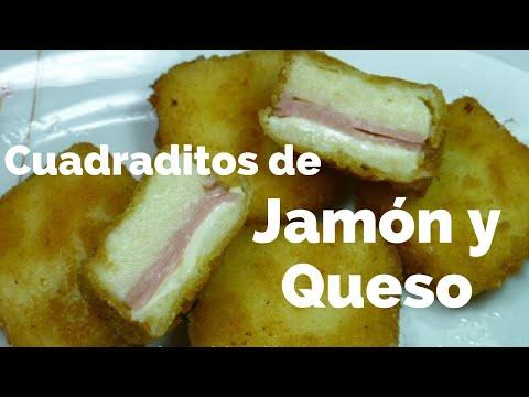 CUADRADITOS DE JAMON Y QUESO