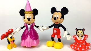 UNBOXING MINNIE MOUSE DELUXE SET WITH MICKEY MINNIE PLUTO AND FIGARO - DRESS UP FUN AT THE CLUBHOUSE