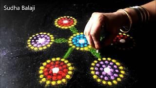 Simple rangoli designs | colourful innovative ideas   | Rangoli tools | CD, masher (!), cotton buds