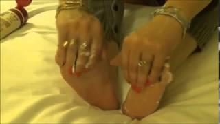 A cream massage to Vicky's feet