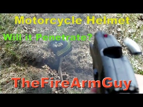 .22lr.22wmr 9mm .40 &.45acp vs Motorcycle Helmet