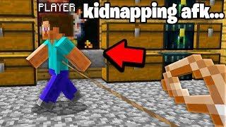 I found a AFK Minecraft faction PLAYER inside his SECRET Base.. i stole HIM!