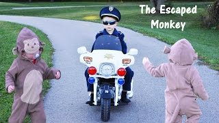 KIDZ MOTORZ Police Motorcycle Kid Cops Little Heroes The Escaped Monkey Video Parody