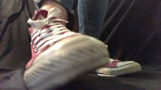 Red Chucks sheer ped socks strip