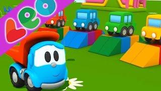 Léo le camion benne curieux et les voitures pour coloriage