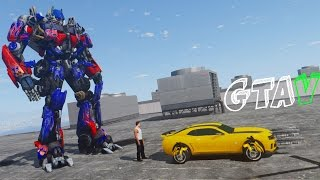 Bumblebee Vs Optimus Prime Transformers: The Last Knight - GTA 5 Mods Gameplay