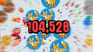 104,528 MASS IN AGARIO // Agar.io World Record Gameplay?! // TYT Sirius