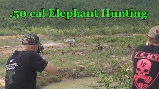 Elephant hunting with .50cal machine gun
