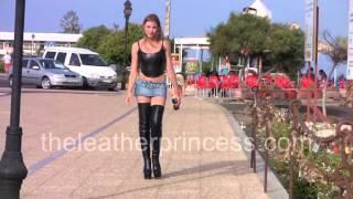 Spanish Walk in my TINY MICRO MINI SKIRT & THIGH BOOTS