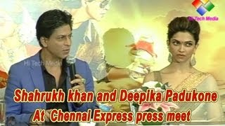 Shahrukh khan and Deepika Padukone at  chennai express press meet
