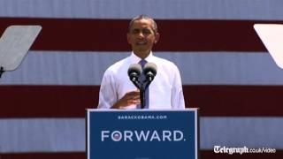Obama criticizing Romney in a campaign trail speech